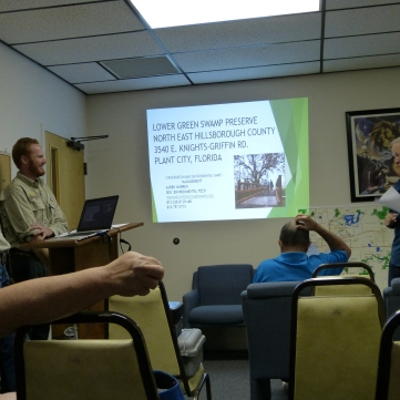 Club meeting with information about Lower Green Swamp
